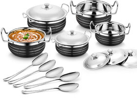 Classic Essential Stainless Steel Handi Set of 5 With 5 Serving Spoon