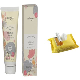 Mantra Authentic Ayurvedic Neem And Haldi Anti-Acne Face Wash 100 ml with Face Wipes