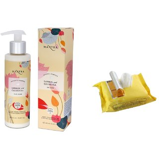 Mantra Saffron And Calendula Sun Cream (250 ml) - SPF 30 PA++ with Face Wipes