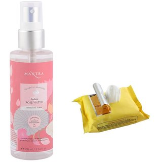 Mantra Indian Rose Water Refreshing Toner (250 ml) with Face Wipes