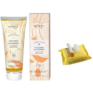 Mantra Cucumber & Turmeric Anti-Acne Skin Repair Face Gel 100 ml with Face Wipes