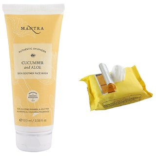 Mantra Cucumber & Aloe Skin Soother Face Wash (100 ml) with Face Wipes