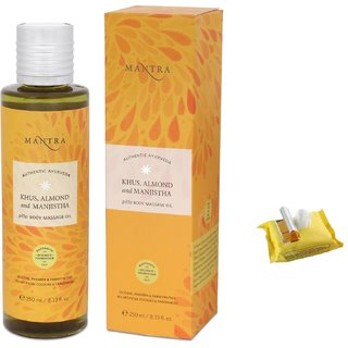 Mantra Khus, Almond and Manjistha Pitta Body Massage Oil (250 ml) with Face Wipes