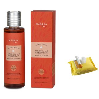 Mantra Patchouli And Pomegranate Massage Oil For Women (250 ml) with Face Wipes