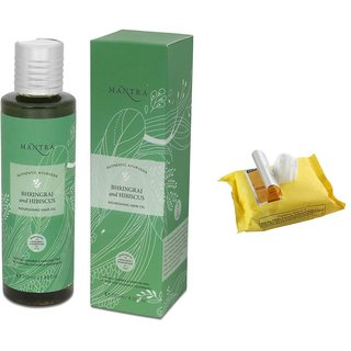 Mantra Bhringraj & Hibiscus Nourishing Hair Oil(250 ml) with Face Wipes
