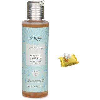 Mantra Holy Basil And Arjuna Kapha Body Wash For Oily Skin (250 ml) with Face Wipes