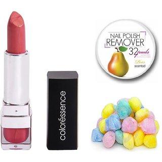 Coloressence Moisturishing Lip Color (Back 2 Basics)with Multicolor Cotton Balls (50 Pcs.) & Nail Polish Remover Pads (25 Pcs)