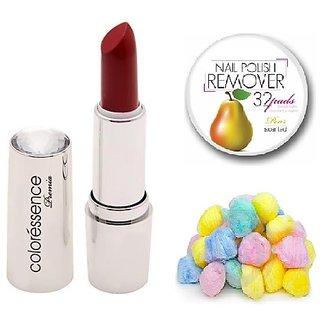 Coloressence Primea Lip Color ( Rose)PLC-113with Multicolor Cotton Balls (50 Pcs.) & Nail Polish Remover Pads (25 Pcs)