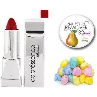 Coloressence Primea Lip Color ( Sweet Maroon)PLC-115with Multicolor Cotton Balls (50 Pcs.) & Nail Polish Remover Pads (25 Pcs)