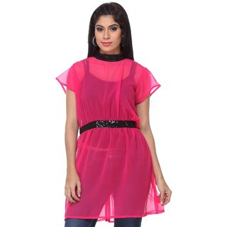 Lavennder Designer Fushia Georgette Tunic With Sequence Mix And Match