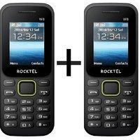 Rocktel W8 Blk+Green COMBO(1.8 Bright screen, 800mAH Original battery,BIS Certified,MADE IN INDIA)