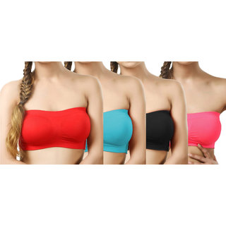 Hothy Non-Padded Strapless Tube Bra (Red,Cyan,Black,Rose)