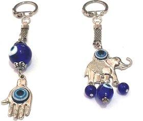 EVIL EYE HAMSA HAND AND ELEPHANT KEY RING / CHAINS