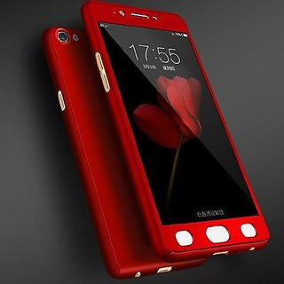 Brand Fuson 360 Degree Full Body Protection Front Back Case Cover (iPaky Style) with Tempered Glass for Oppo A57 (Red)