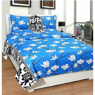 Choco Blue White Flower 3D Double Bedsheet Pack Of 1