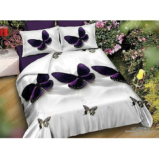 Choco Purple Butterfly 3D Double Bedsheet Pack Of 1