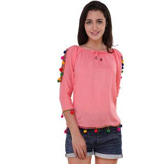 d5d113f920f42 Buy BuyNewTrend Cotton Crepe Shoulder Cut PopPom Top For Women ...