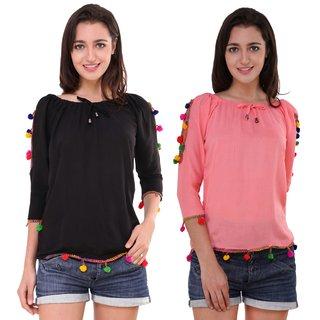 BuyNewTrend Black & Gajri Cotton Crepe PomPom Top For Women (Pack of 2)