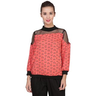 BuyNewTrend Crepe Multicolor Printed Lace Top For Women
