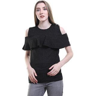 5402173346c08 Buy BuyNewTrend Black Shoulder Cut Cretta Top For Women Online ...