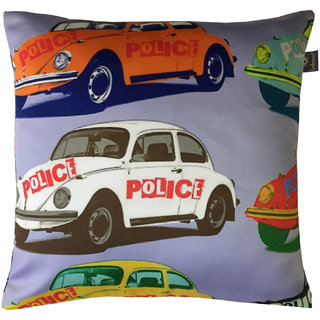 Lushomes Kids Cars Digital Printed Cushion Cover with top white invisible zipper (16 x 16 Single Pc)