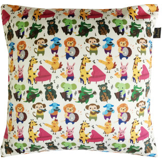 Lushomes Kids Animals Digital Printed Cushion Cover with top white invisible zipper (16 x 16 Single Pc)