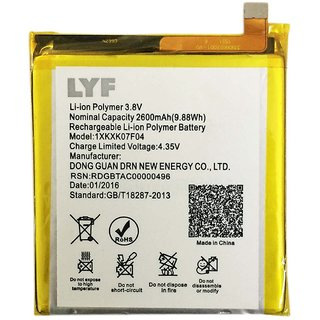 100 Percent Original LYF Wind 4S F04 1XKXK07F04 Battery 2600mAh With 1 Month Warrantee.