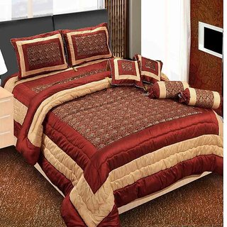 The Intellect Bazaar 7 Pc Luxury Designer Wedding Bedding Set With Filled Cushions And Bolsters