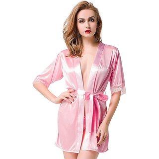 Aloof Women's Pink Satin Nightdress