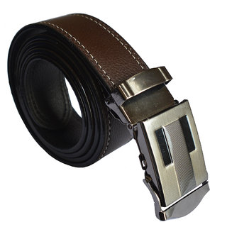 Ws Deal Brown Formal Auto Lock Buckle Belts Free Size (28 to 44) (Synthetic leather/Rexine)