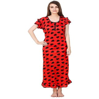 Aloof Women Red Satin Nightdress