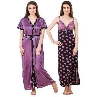 0cccaf1835 Buy Aloof Women Nightwear Dress (Set of 2 PcsNighty with Robe ...