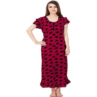 Aloof Women Maroon Heart Print Satin Nightdress