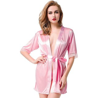 Aloof Women's Pink Satin Nightdress