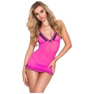 Aloof Women Pink Nightwear Babydoll Dress with Panty