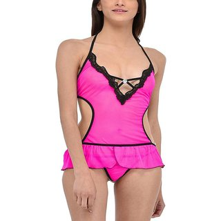 Aloof Pink Ultra Hot Sexy Lace Sleepwear with G - String