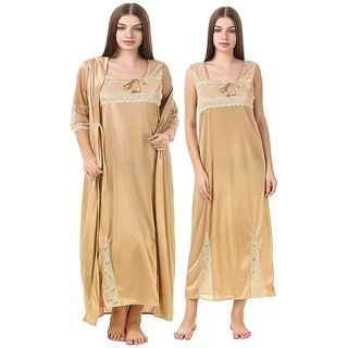 Aloof Women Satin Golden Night Dress