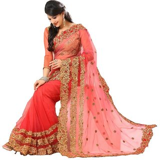 Net Red Party Embroidered Saree