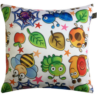 Lushomes Kids Bugs & Bees Digital Printed Cushion Cover with top white invisible zipper (16 x 16, Single Pc)