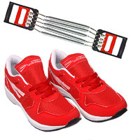 HOMMER Red Marathon Running Shoes With 5 Steel Chest Expander .