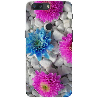 OnePlus 5T Case, Flowers On Stone Pink Blue Slim Fit Hard Case Cover/Back Cover for One Plus 5T