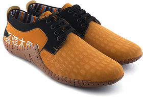 Koggler Mens Tan Lace-Up Smart Casual Shoes