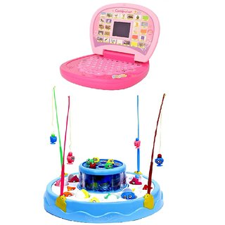 New Pinch combo of Rotating Magnetic Fishing Game with  Educational Mini screen led light  Laptop for kids