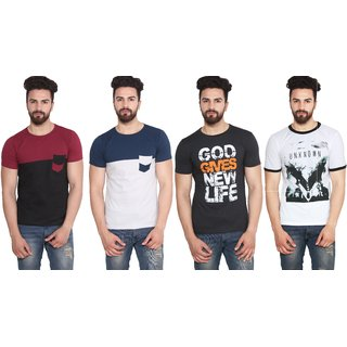 Stylogue Multicolor Round Neck Half Sleeve T-shirt (Pack of 4)