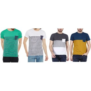 Stylogue Multicolor Round Neck Half Sleeve Cotton Blend Men T-Shirts (Pack of 4)