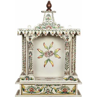 Akhani Handicrafts Multicolor Hand Painted Wooden Stylish Mandir With One Drawer