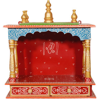 Akhani Handicrafts Multicolor Wooden Hand Painted Mandir With 2 Drawer