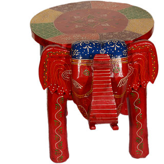 Akhani Handicrafts Multicolor Hand Painted Wooden Elephant Foot Rest