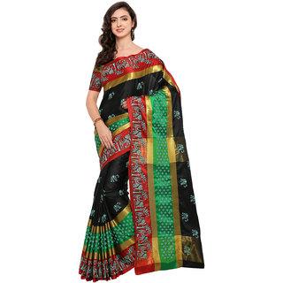 fecbce927 Swaron Women s Black and Multi Colored Poly Silk Khadi Printed Festive Wear  Saree