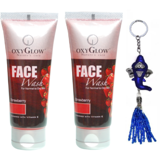 Oxyglow Strawberry Face Wash 2 x 100 (Pack of 2) + Free Ganesh Key Chain Worth Rs.199/